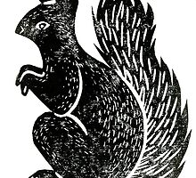 Squirrel Lino Print by Hazel Partridge