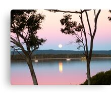 Framing the Super Moon! Tin Can Bay, Queensland. Canvas Print
