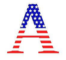 Alpha Symbol American Flag Design Photographic Print