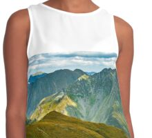 Mountain range at sunset Contrast Tank