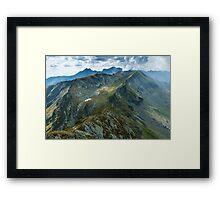 Mountain range at sunset Framed Print
