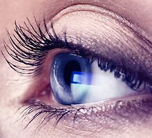 Closeup of woman eye with blue screen reflecting in it art photo print by ArtNudePhotos