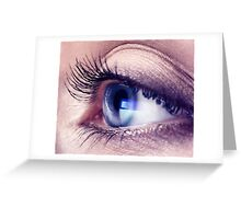 Closeup of woman eye with blue screen reflecting in it art photo print Greeting Card