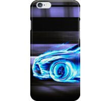 Car burning in blue flames racing in a tunnel art photo print iPhone Case/Skin