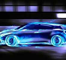Car burning in blue flames racing in a tunnel art photo print by ArtNudePhotos