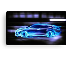 Car burning in blue flames racing in a tunnel art photo print Canvas Print