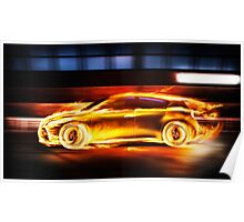 Race car in burning flames in a tunnel art photo print Poster