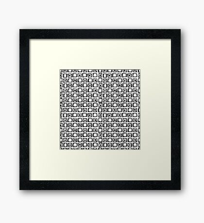 seamless pattern with hand drawn squares and dots, black and white Framed Print