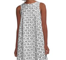 seamless pattern with hand drawn squares and dots, black and white A-Line Dress