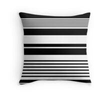 black and white horizontal stripes, fashion texture. Throw Pillow