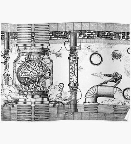 Vintage Metroid Mother Brain Engraving Poster