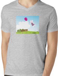 Cute flying Kitten in the Garden : hand-drawn art illustration Mens V-Neck T-Shirt