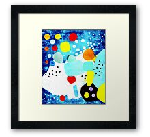 Marine Blue and White Abstract Art Framed Print