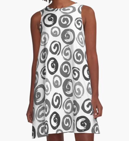 Ink swirls, hand drawn, converted to vector seamless pattern A-Line Dress