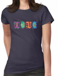 Sweet Happy Colorful Cool Love Floral Text Design Womens Fitted T-Shirt