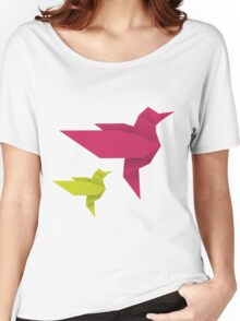 Origami Hummingbird - crimson + lime Women's Relaxed Fit T-Shirt