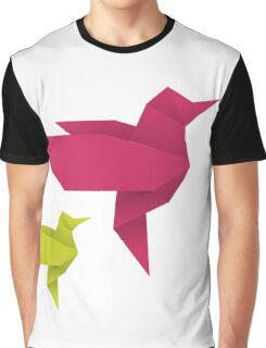Origami Hummingbird - crimson + lime Graphic T-Shirt