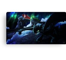 toothless under the aurora  Canvas Print