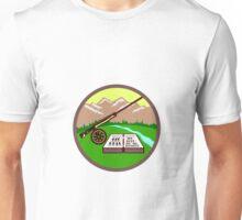 Fly Box Rod Mountains Circle Retro Unisex T-Shirt