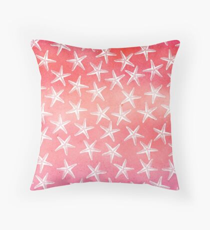 Tropical Starfish Watercolor Wash Pink Orange Guava Red Throw Pillow