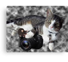 "(CAT) ""SAY CHEESE"" (MOUSE)""DID SOMEONE SAY CHEESE?"" CAT & MOUSE PHOTOGRAPHER - PICTURE & CARD Canvas Print"