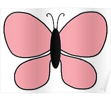 Pink and Black Butterfly Poster