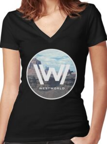 WEST WORLD Women's Fitted V-Neck T-Shirt