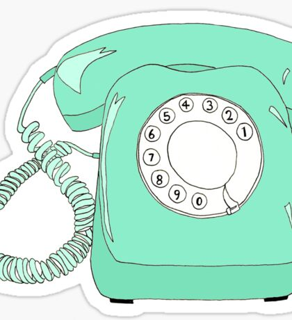 Mint Green Rotary Phone Sticker