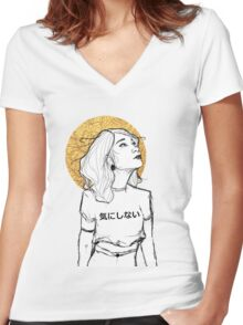 I don't care Women's Fitted V-Neck T-Shirt