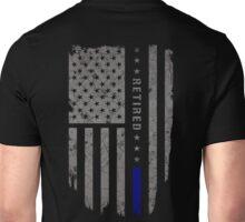 Thin Blue Line Retired American Flag T-Shirt Unisex T-Shirt