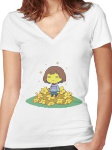 frisk and flowers Women's Fitted V-Neck T-Shirt
