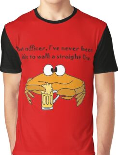 Funny Funky Crab Drinking Beer Cartoon Graphic T-Shirt