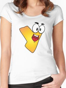 Alphabet Cartoon Letter Y Personal Monogram Women's Fitted Scoop T-Shirt