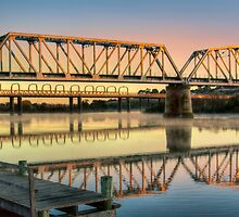 Golden Bridges at Sunrise, Murray Bridge by Mark Richards