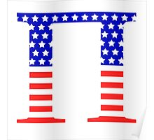 Pi Symbol American Flag Design Poster