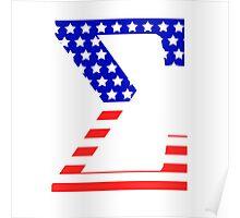 Sigma Symbol American Flag Design Poster