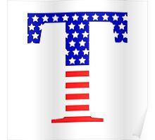 Tau Symbol American Flag Design Poster
