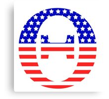 Theta Symbol American Flag Design Canvas Print