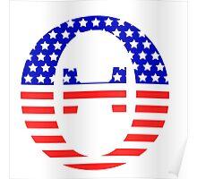 Theta Symbol American Flag Design Poster