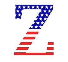 Zeta Symbol American Flag Design Photographic Print