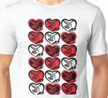 Red, Black, & White Hummingbirds in Hearts Unisex T-Shirt