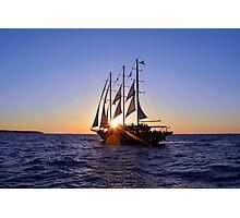 Romantic cruise ship with veils on the Aegean Sea in Santorini, Greece. Photographic Print