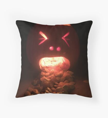 Puking Pumpkin Throw Pillow