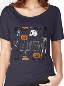 Halloween. Hand drawn seamless pattern.  Women's Relaxed Fit T-Shirt