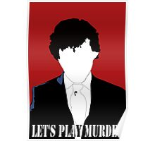 BBC Sherlock: Let's Play Murder Silhouette bloodred Poster