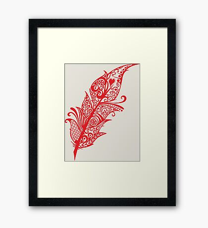 Red feather to love Framed Print