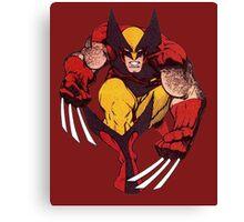 Wolverine Comic Retro Maroon Canvas Print