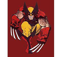 Wolverine Comic Retro Maroon Photographic Print