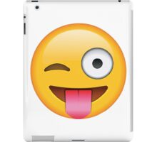 Face Emoticon Tongue Out Emoji with Wink Design iPad Case/Skin