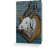 Goat mural Graffiti detail on the textured wall Greeting Card